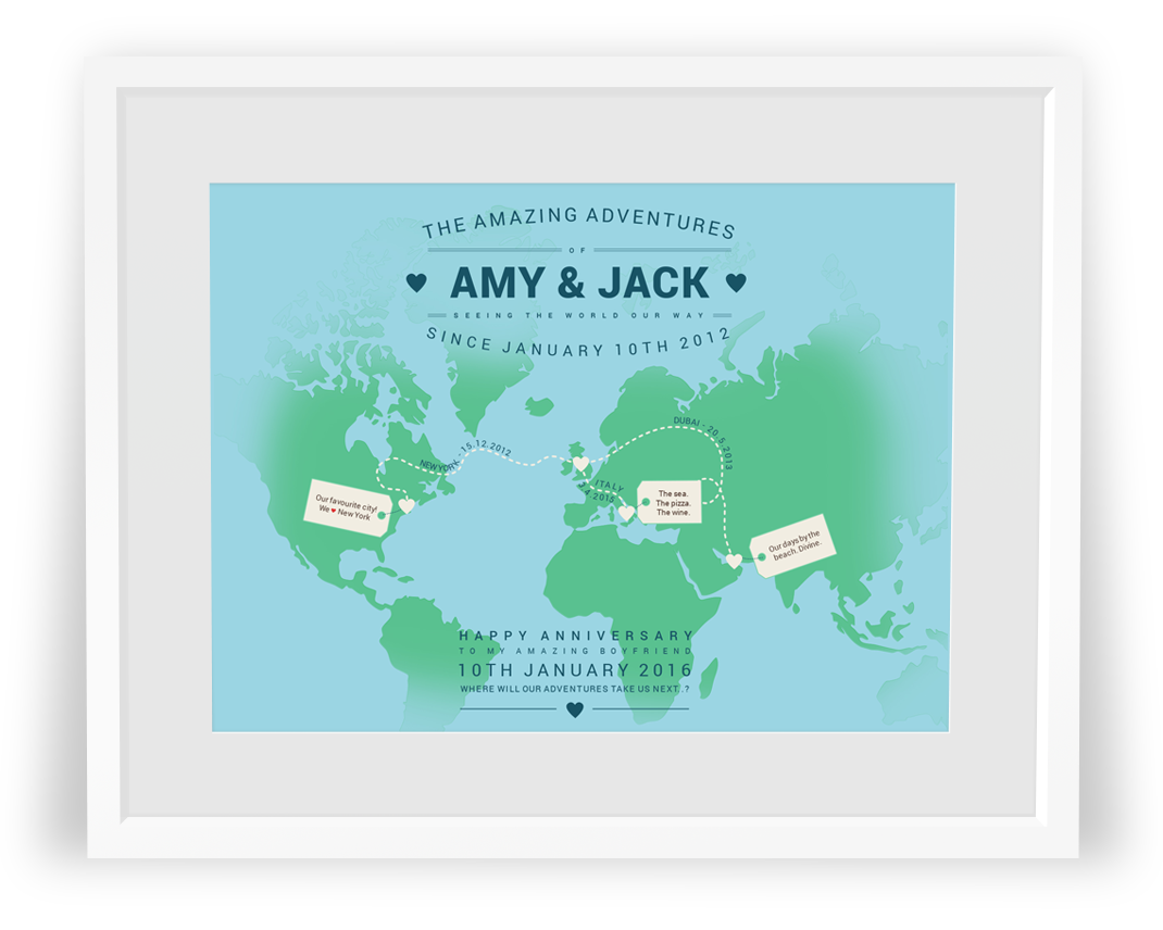 Personalised world maps by No Ordinary Emporium